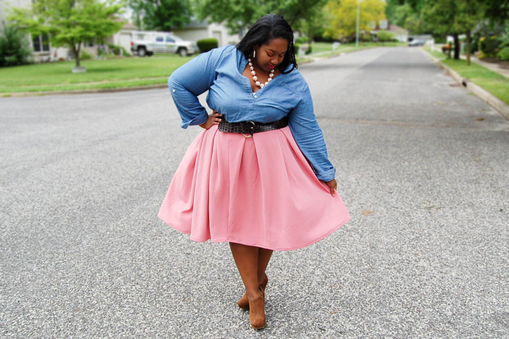 Plus Size Denim + Pink Midi Skirt: Church Denim | The Pink Caboodle